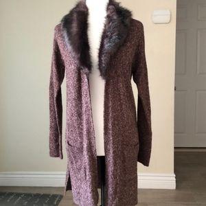 Gorgeous faux fur collar long sweater